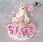 Cake topper unicorno con pioggia di cuori numero e nome da soli 5 LETTERE