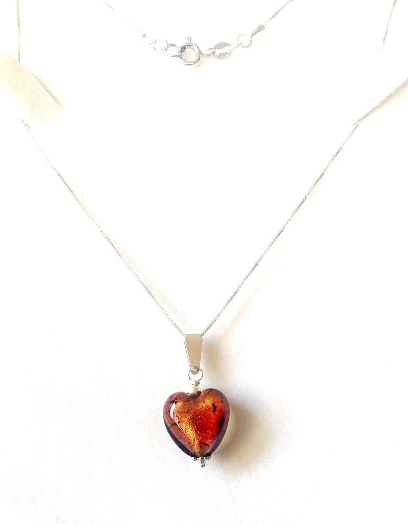 Collana argento 925,  cuore vetro murano cacao lamina argento, artigianale, regalo donna, compleanno,