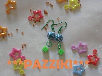 orecchini perline verdi