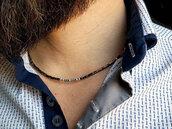 Collana minimal da uomo in Ematite e argento, sottile e elegante. Fatto a mano con materiali di qualità e anallergici