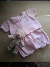 Completino neonata ai ferri lana cotone coprifasce rosa Battesimo a uncinetto regalo nascita set pantaloncini e golfino tuta nascita