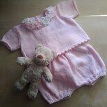 Cardigan battesimo, completino neonata ai ferri, golfino lana, coprifasce rosa, corredino Battesimo, regalo nascita neonata, completino rosa bimba