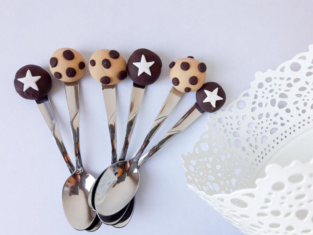 Cucchiaini decorati in fimo mix dolcetti, bomboniere nascita fimo