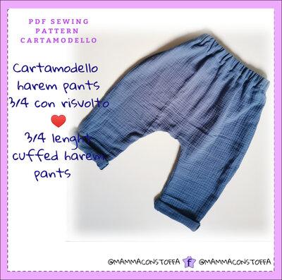 cartamodello pantalone harem pants con risvolto da taglia 2 anni a tg 12 anni