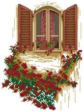 Schema punto croce Finestra fiorita