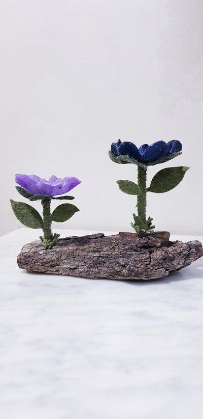 Portacandela fiori in feltro..handmade