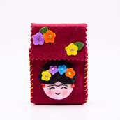 Portasigarette bordeaux Frida kahlo, per pacchetto da 20