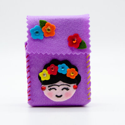 Portasigarette lilla Frida kahlo, per pacchetto da 20