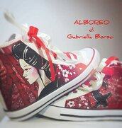 Sneakers dipinte a mano geisha