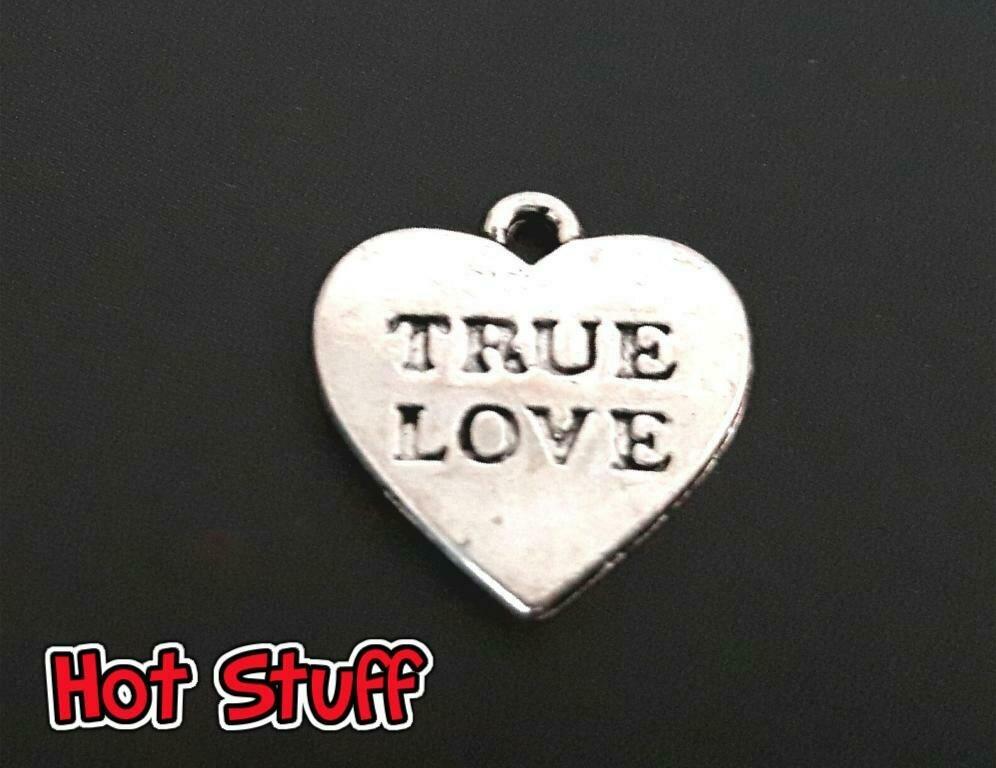 1 Charm di Cuore/True Love - Argento tibetano (16x16mm)