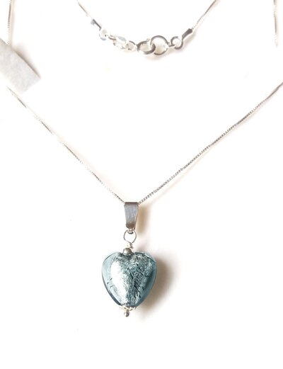 Collana argento 925,  cuore vetro murano, artigianale, San Valentino, regalo donna, compleanno