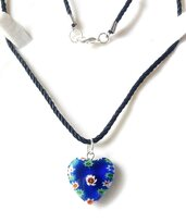 Collana cuore vetro Murano millefiori, artigianale, cordoncino, acciaio, regalo, compleanno donna