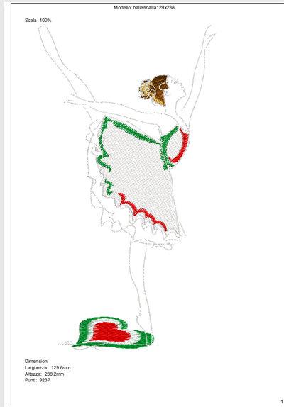 Ricamo ballerina tricolore - file di ricamo Pes, Vp3, Vip, Pec ed altre macchine da ricamo