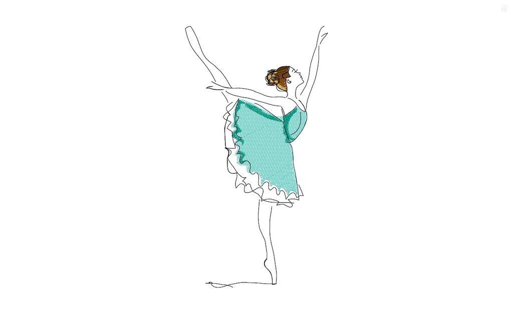 Ricamo a macchina Ballerina danza classica - File da scaricare Vp3, Pes, Pec, Jef