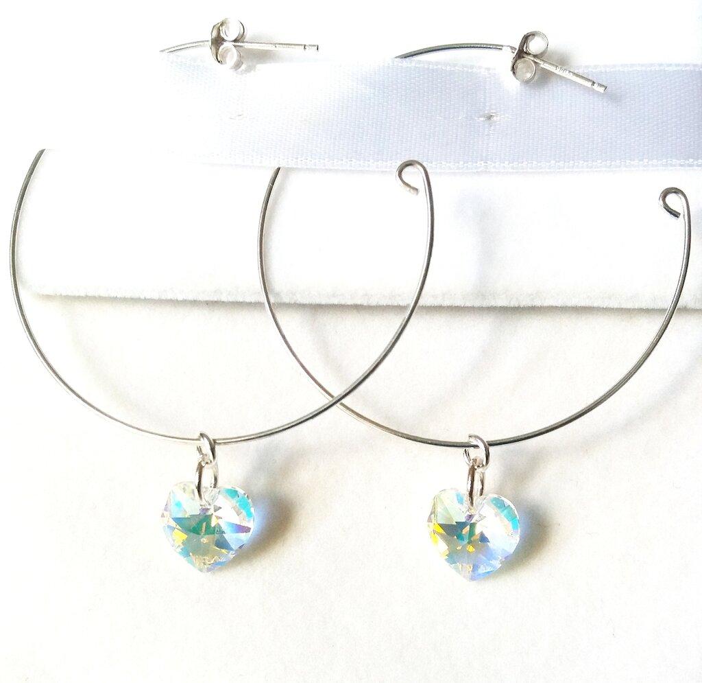 Orecchini a cerchio argento 925 cuore cristallo Swarovski, artigianale, regalo, donna, compleanno,