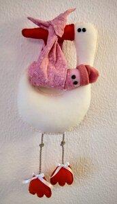 Fiocco nascita cicogna con bimba