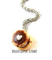 Collana pancakes con glassa e burro a forma di cuore - idea regalo kawaii handmade miniature