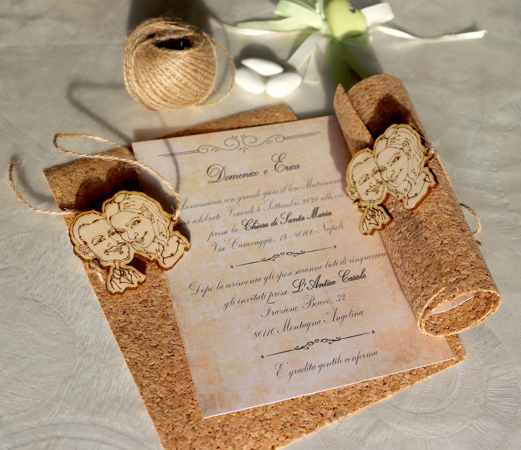 Partecipazioni Matrimonio Legno.30 Partecipazioni Matrimonio Caricatura Sposi Inviti
