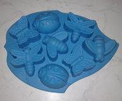 Stampo in silicone insetti (farfalle, coccinelle, libellula, api) colore azzurro
