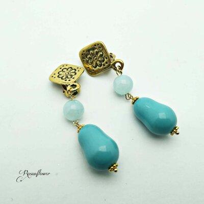 Orecchini turchese con perle di maiorca e amazzonite, orecchini clips, orecchini pendenti, regalo mamma