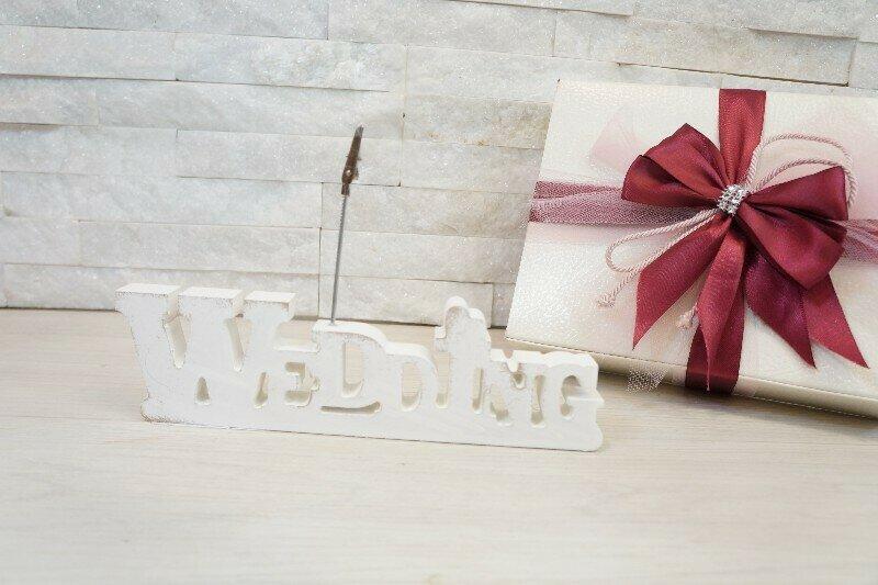 WEDDING CLIP SHABBY 18X5CM LEGNO