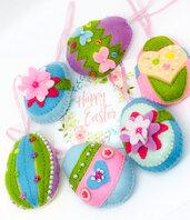 Uova di Pasqua in pannolenci, decorazione Pasqua feltro.
