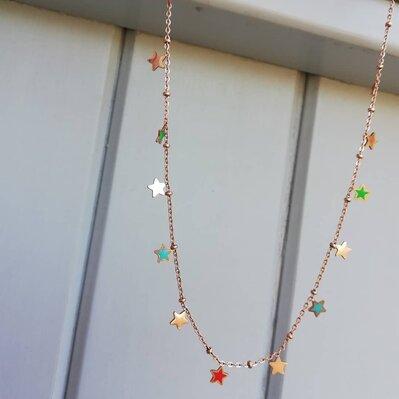 Collana in acciaio rosato/dorato con stelline
