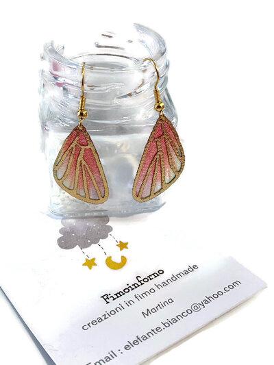 Pendenti con ali di farfalla arancio rosa