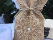 Sacchettino  per confetti -Bomboniera matrimonio in juta naturale