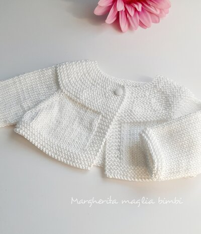 Coprispalle/golfino/cardigan neonata/bambina -  Battesimo - cotone bianco - fatto a mano