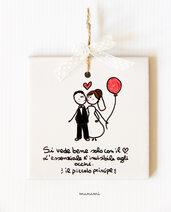 Matrimonio bomboniere frasi originali personalizzate mattonella ceramica piastrella sposi piccolo principe wedding fAvor