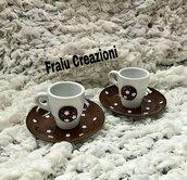 Set tazzine da caffè decorate