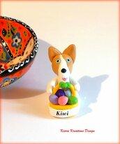 Decorazioni Pasqua con cane corgi con uova di pasqua personalizzato con il nome sul cestino, regalo pasqua per amanti dei pembroke corgi