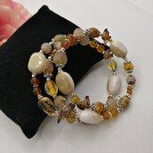 Bracciale donna color ambra, marrone e beige a più giri fatto a mano