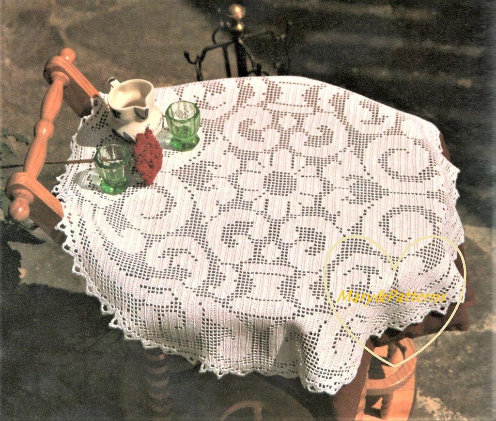 Schema PDF -Tovaglia a filet - Centro filet a uncinetto - decorazioni per la casa - Runner - Striscia grande