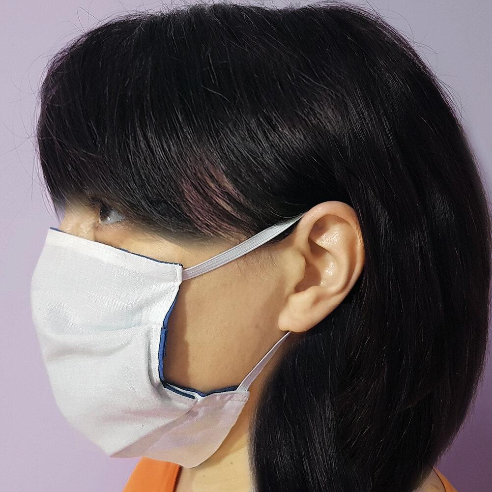Mascherina artigianale lavabile in stoffa cotone doppio strato riutilizzabile con tasca per inserimento filtro (carta forno)