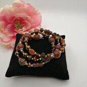 Bracciale donna a più giri marrone con pietre e perle fatto a mano