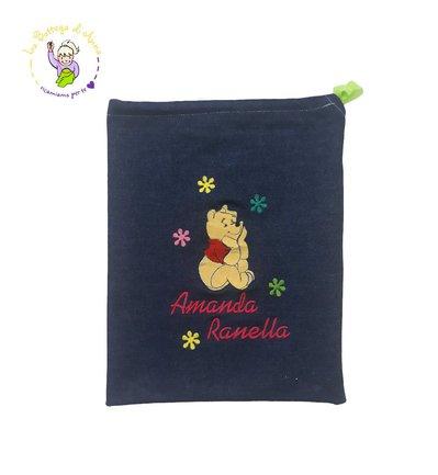Sacchetto asilo blu scuro con laccetto, ricamo Winnie the Pooh