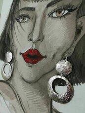 Orecchini etnici in pelle argento