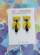 Lemonade orecchini in fimo giallo limone con pendente originale e goccia nera