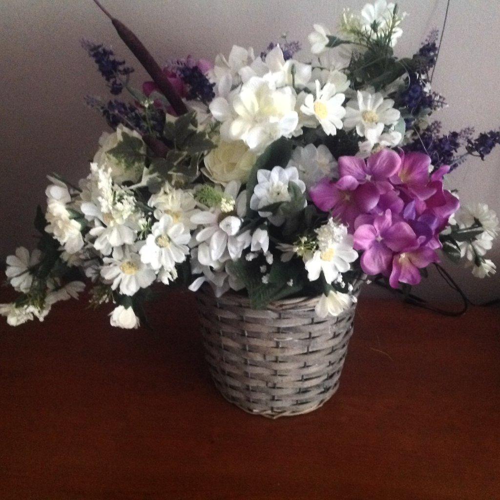 cesto fiori primaverili finti idea regalo festa mamma,compleanno