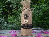 Sacchetto regalo personalizzato in tela di iuta per bottiglie di vino ,bottiglie di champagne.