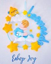 fiocco nascita bimbo su cavallino con stelle e bolle