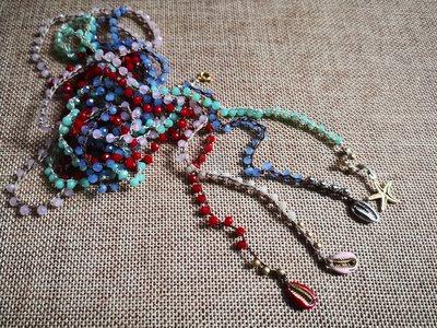 Collanine uncinetto con cristalli colorati