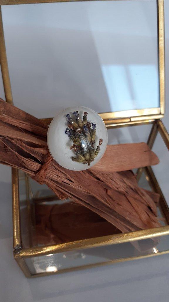 Anello donna regolabile anello fiori veri anello lavanda anello resina fiori veri
