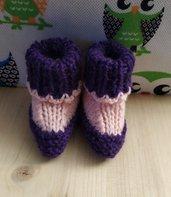 Scarpette neonato lana,scarpine neonata ai ferri,scarpette neonato cotone,calzine bimbo