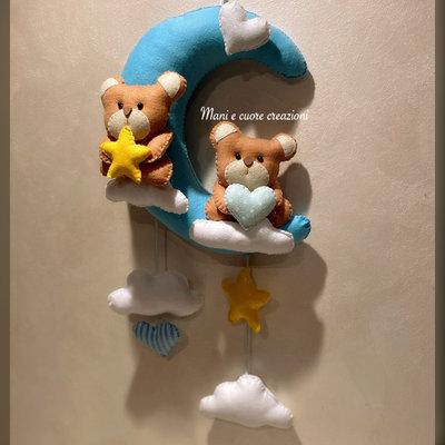 Fiocco nascita gemellare ❤️ Orsetti sulla luna
