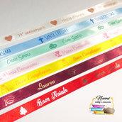 Nastro personalizzato 10mm x 15 mt con colori ORO o ARGENTO Nastro di raso Personalizzato ( Doppio Raso ) con scritta Personalizzata, per tutti gli eventi, feste...