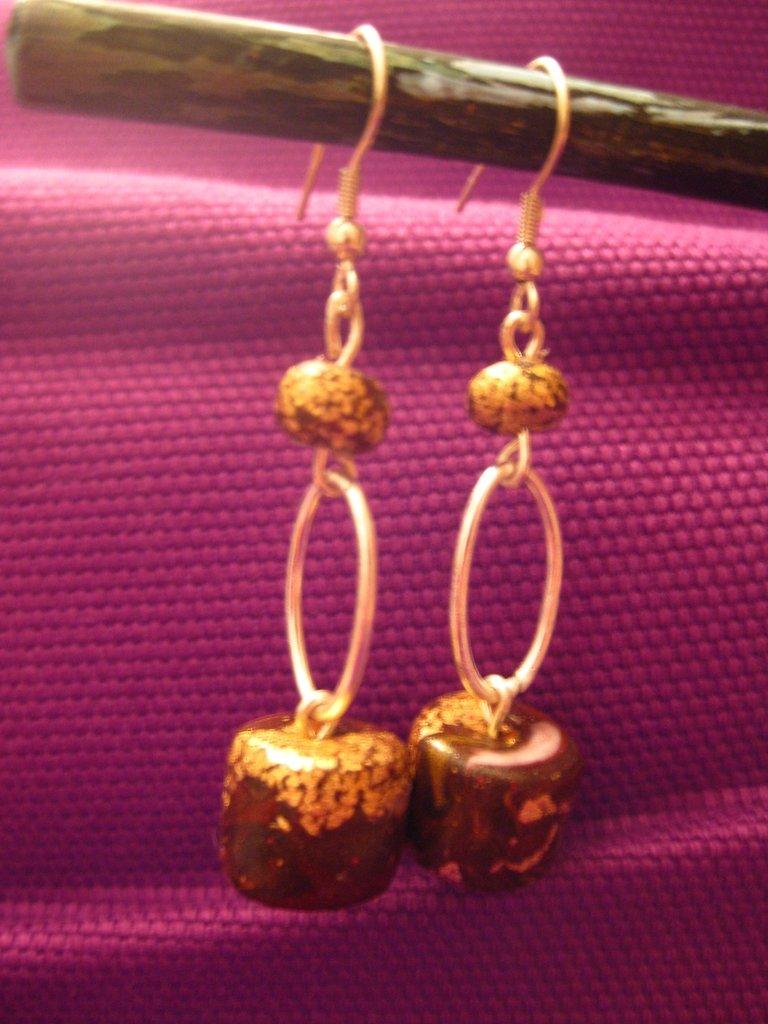 orecchini fimo - foglia oro