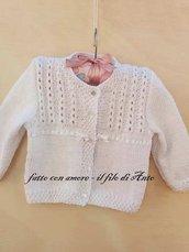 Maglia giacchino bambina in puro cotone lavorata a mano